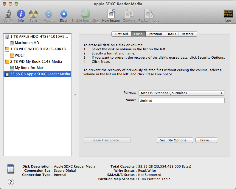 Mac OS X External drive in Disk Utility