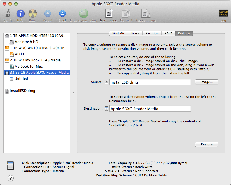 Mac OS X ISO image in Disk Utility