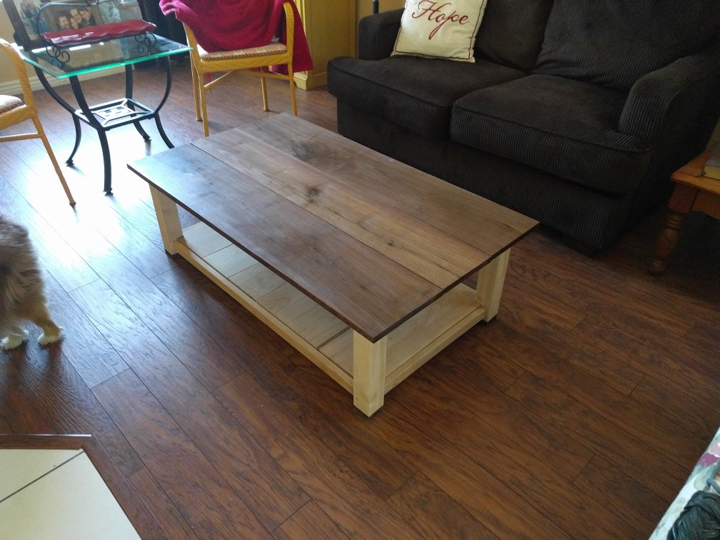 Walnut and maple coffee table