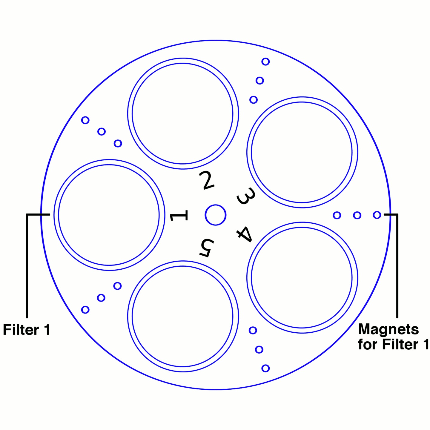 Arduino filter wheel filter and magnet relationship.