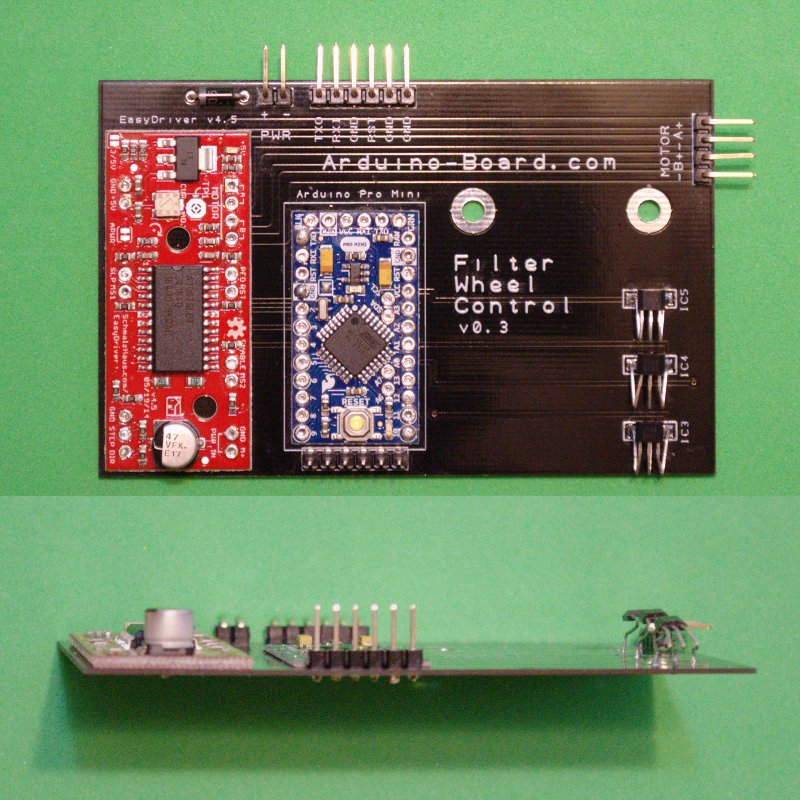Arduino Pro Mini and EasyDriver controller board.