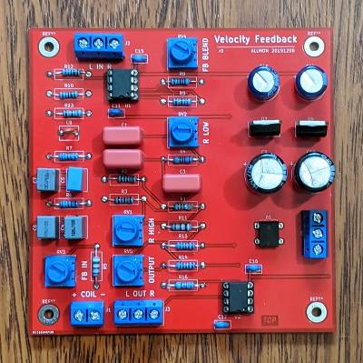 Subwoofer velocity feedback PC board